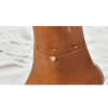 Gold - Double Chain Beads Heart Anklet
