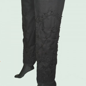 OST01 Black - Knee Embroided With Beads Work Trouser Pant For Women