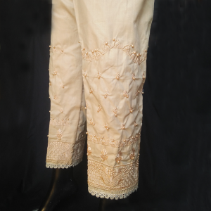 Beige - Knee Embroided With Beads Work Trouser Pant For Women