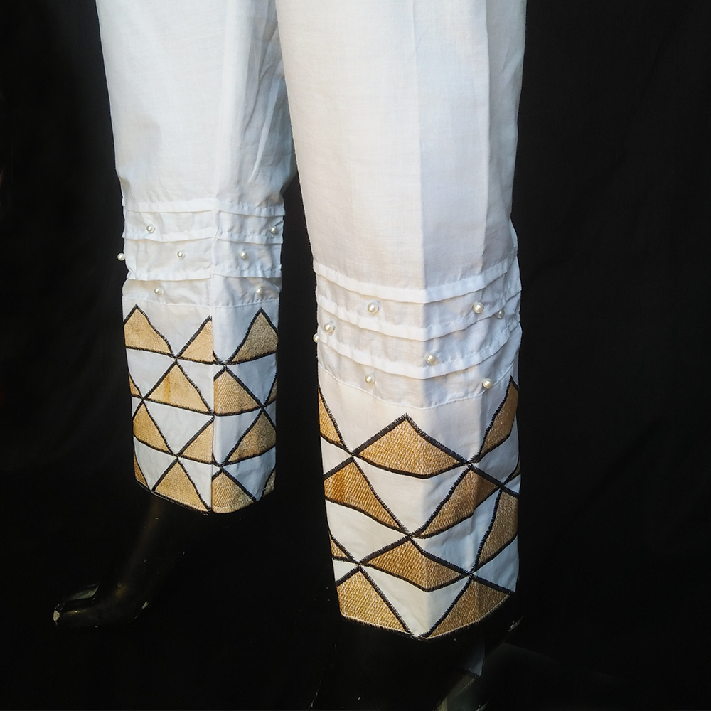 White Beige Triangular embroided Trouser For ladies