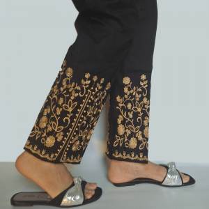 Black Beige - Embroided Trouser Pant With Beads Work