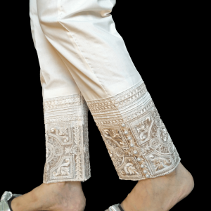 Off White - Embroided Trouser Pant - Cotton - For Women
