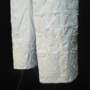 White - Knee Embroided With Beads Work Trouser Pant For Women