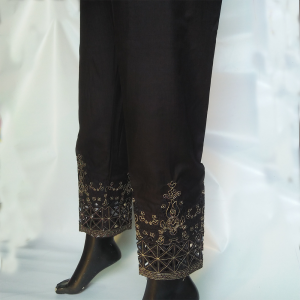Cut Work - Embroided Trouser Pant For Ladies - Black