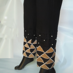 Black Beige Triangular embroided Trouser For ladies