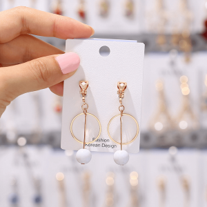 Gold - Circle Pearl Drop Earring For Women Ladies - High Quality
