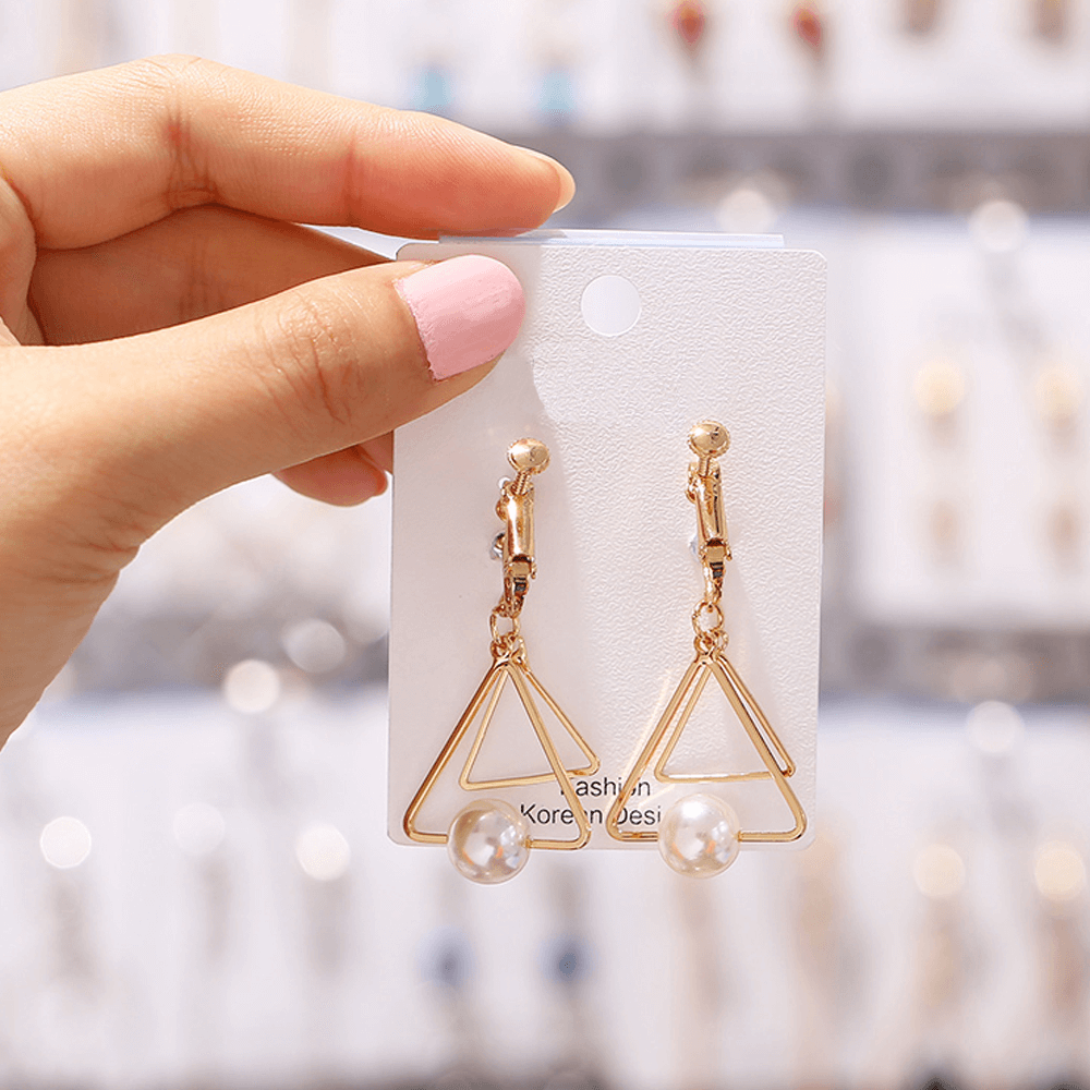 Gold - Triangular Pearl Drop Earring For Women Ladies - High Quality