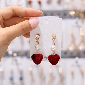Gold - Heart Design Drop Earring For Women Ladies - High Quality