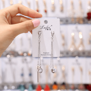 Silver - Pearl Long Drop Earring For Women Ladies - High Quality