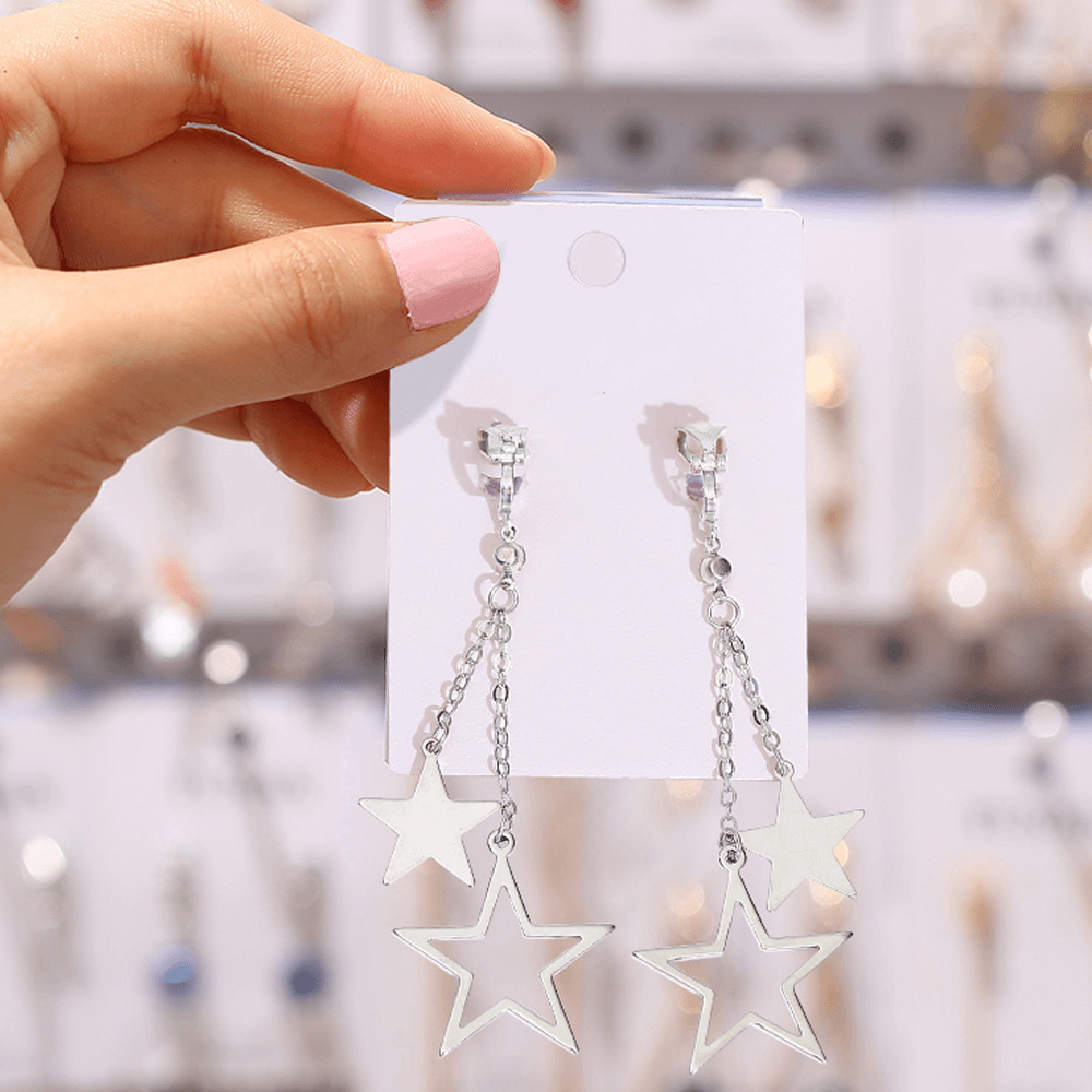 Silver - Star Long Drop Earring For Women Ladies - High Quality