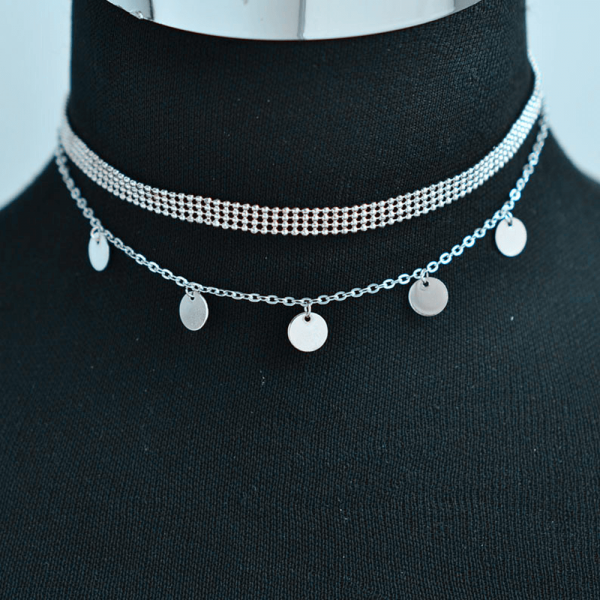 AN119- Multi Layer Necklace For Women Ladies Girls Party Wedding – Silver