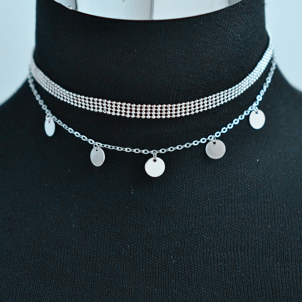 Multi Layer Necklace For Women Ladies Girls Party Wedding - Silver