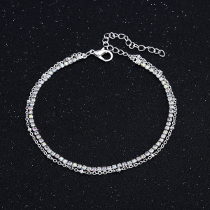 Double Chain Anklet Jewelry For Women Sparkling Glowing - Silver