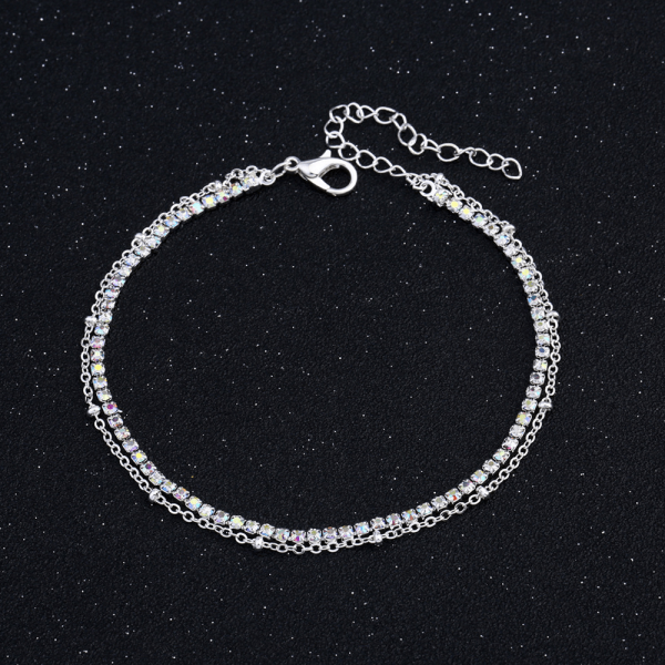 ANK32 Double Chain Anklet Jewelry For Women Sparkling Glowing – Silver