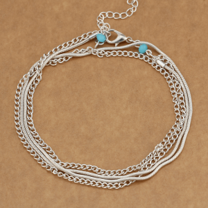 Multi Chain Anklet Jewelry For Women Ladies - Silver