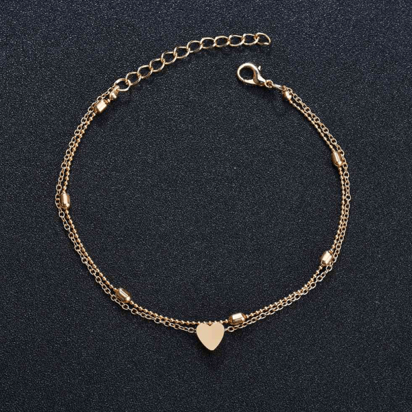 ANK36– Gold – Double Chain Beads Heart Anklet ANK36