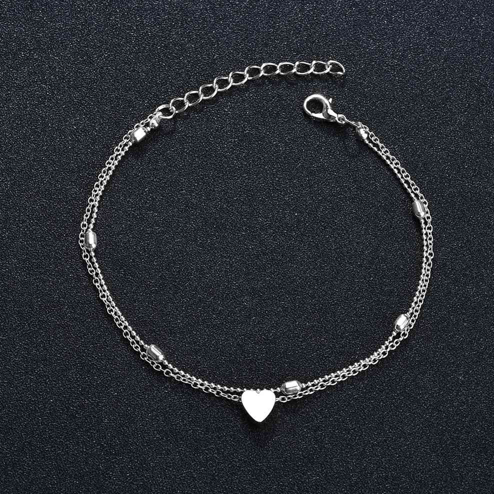 Silver - Double Chain Beads Heart Anklet