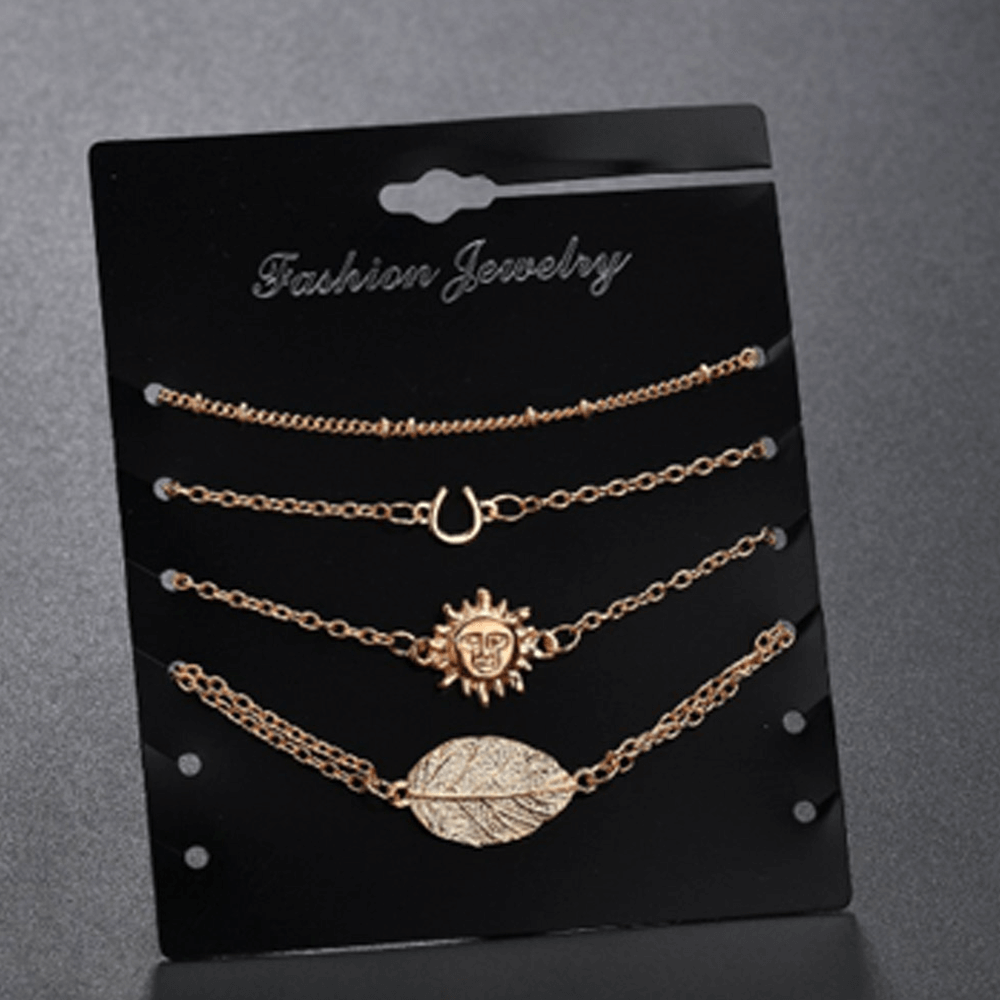 4 PC - Anklet Set For Women Ladies Jewelry - Gold