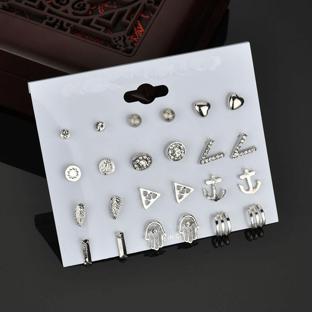 12 Pair Stud Earring Set Various Shapes