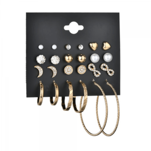 12 Pair Stud Earring Set Various Shapes - Gold