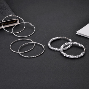 3 pair Big Hoop Earring Set For Women Ladies Round Circle Shinny Fofr Wedding Party - Silver