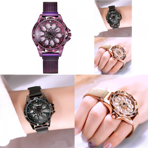 Women Watches Magnetic Strap Grid