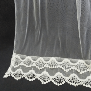 Net Dupatta With Bottom Lace - White - Length 2.5 Yards