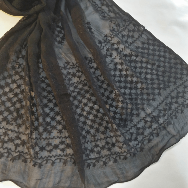 ZD150- Full Hand Embroided – Black Chiffon Dupatta – Length 2.5 Yards