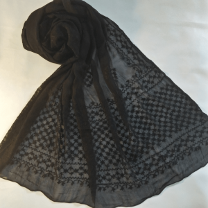 Full Hand Embroided - Black Chiffon Dupatta - Length 2.5 Yards
