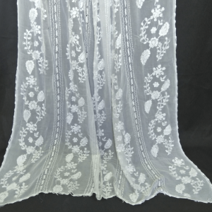 Full Hand Embroided - White Chiffon Dupatta With 4 Sided kureshia Work