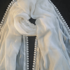 ZD152- White Chiffon Dupatta With Lace on All 4 sides – Large Sof