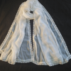 White Chiffon Dupatta With Lace on All 4 sides - Large Soft