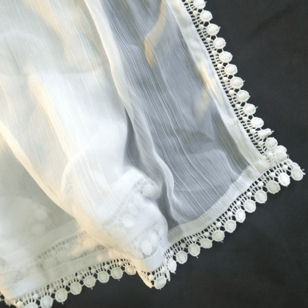 ZD152– White Chiffon Dupatta With Lace on All 4 sides – Large Sof