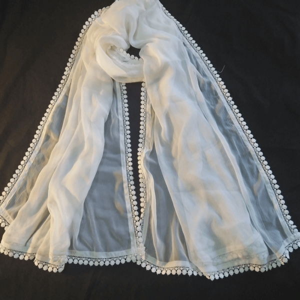 ZD152 White Chiffon Dupatta With Lace on All 4 sides – Large Sof