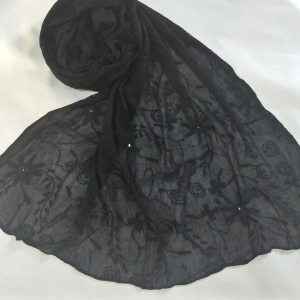 Full Hand Embroided - Black Chiffon Dupatta With Mirror Work
