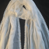 ZD155- White Chiffon Dupatta With Lace on All 4 sides – Large Soft