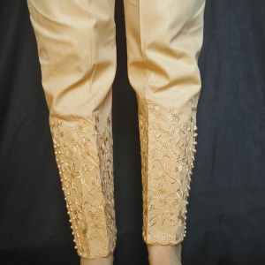 Beige - Embroided Trouser Pant With Beads Work