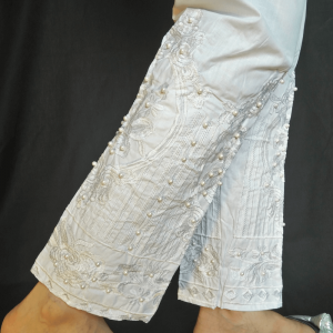 White - Embroided Trouser Pant With Beads Work - 100% Cotton