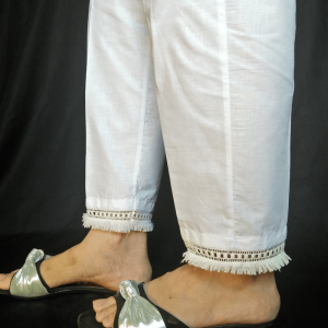 White - Pure Cotton Trouser Trouser For Women Ladies - With Bottom Lace