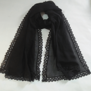 Black - Chiffon Dupatta - Large With 4 sided Lace