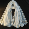 White Chiffon Dupatta With Lace on All 4 sides Large Soft Length 2.5 Yards