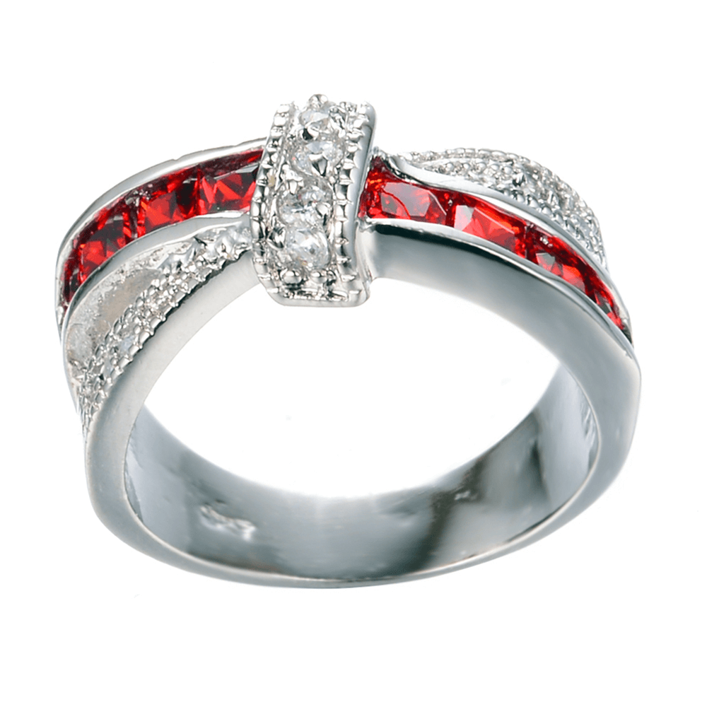 AAA Zircon Ring Silver With Red Stone - Glowing