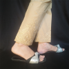 Beige Embroided Trouser Pant 1