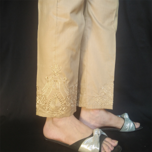 Beige Embroided Trouser Pant 2