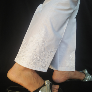 White Embroided Trouser Pant 2