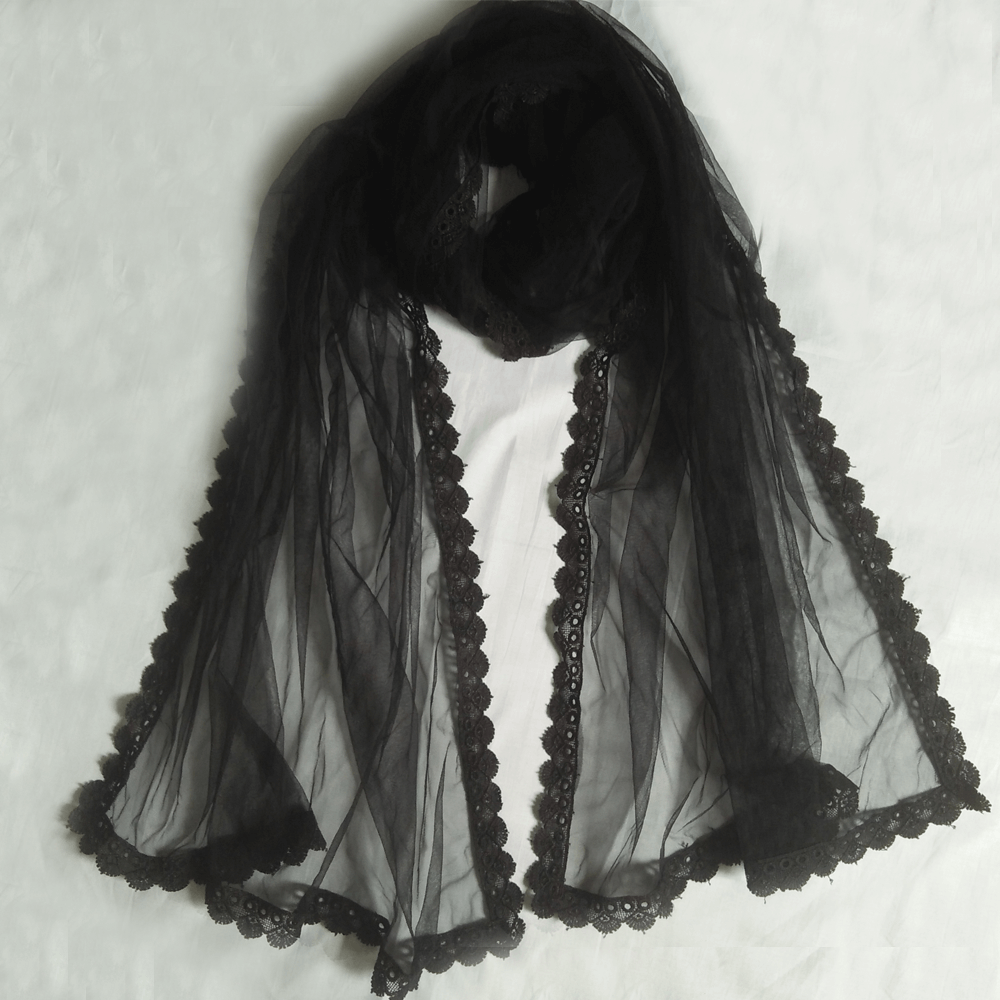 Net Dupatta - Black - 4 Sided Lace - Length 2.25 Yards Width 30 Inches