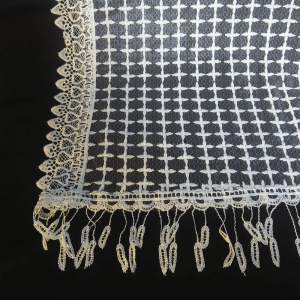 Net Dupatta Embroided White 4 Sided Lace Length 2.25 Yards Width 30 Inches