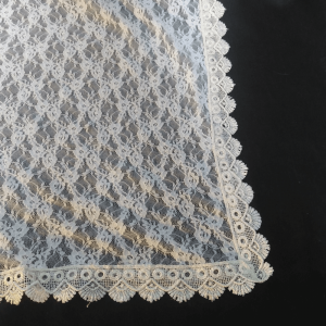 Net Dupatta Embroided - White - 4 Sided Lace - Length 2.25 Yards Width 30 Inches