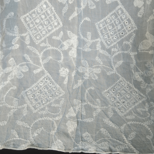 Full Hand Embroided White Chiffon Dupatta With Full Mirror Work Length 2.5 Yards