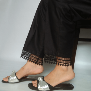 Embroided Trouser Pant For Women - Pure Cotton-